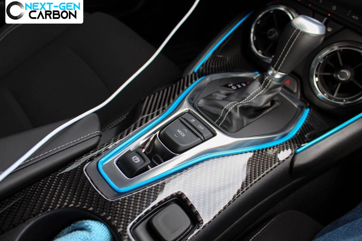 Cup Hold Overlay 2016-2020 Chevrolet Camaro Glossy Carbon Fiber Center Console