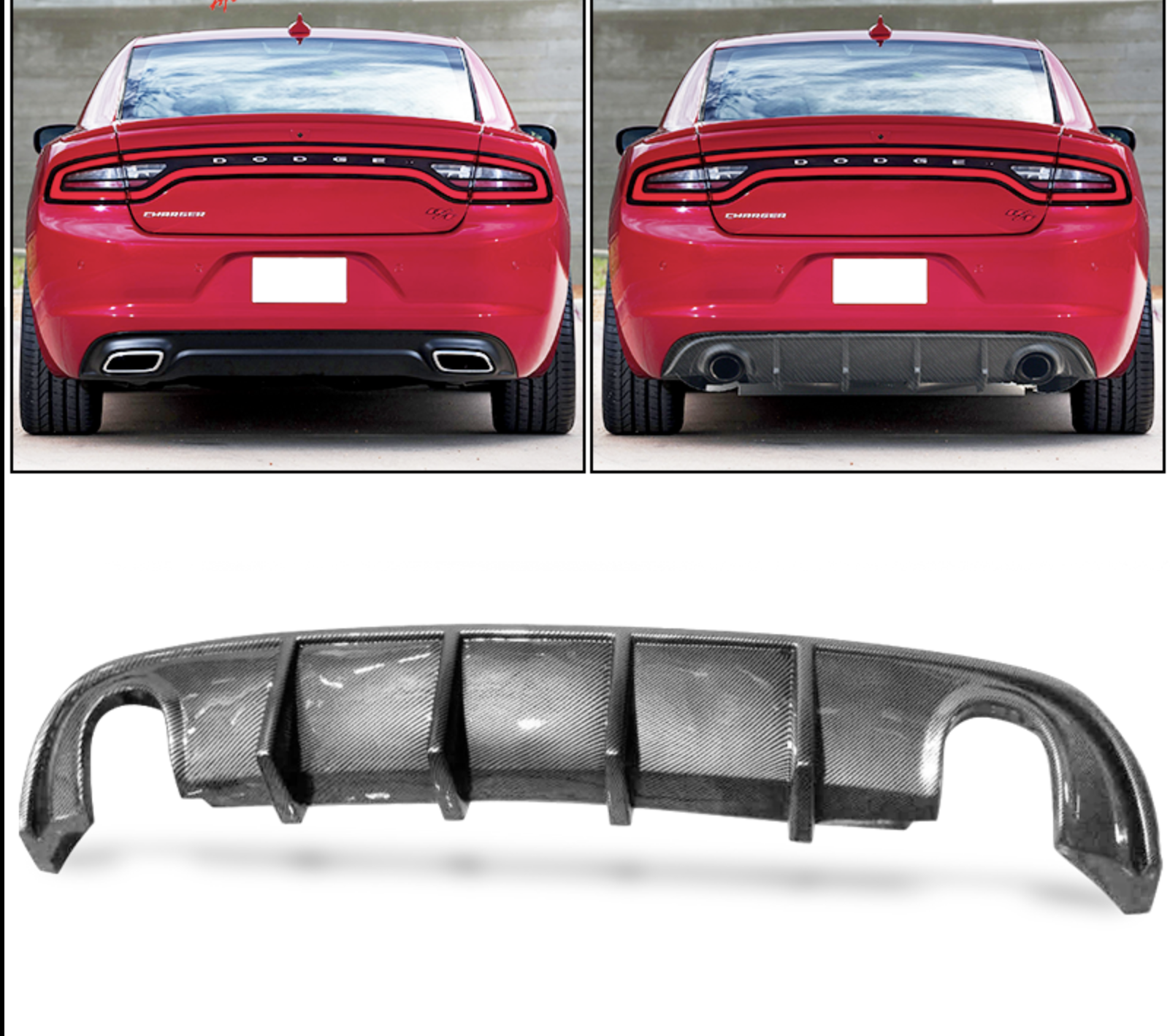 Single Tip Ikon Diffuser 2015 2021 Dodge Charger Rt Unpainted Carbon Fiber Next Gen Speed